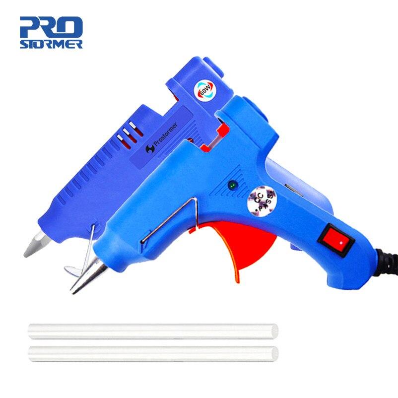 Pistolet à colle thermofusible PROSTORMER avec bâton de colle 7mm 11mm Mini pistolets Thermo électrique outil de température de chaleur pistola de silicona calibre