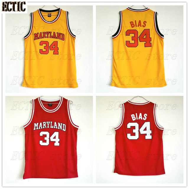 8fb5bb97462e 2018 ECTIC The Most Talented BBaller Len Bias  34 Maryland Basketball Jersey  100% Stitched Yellow and Red