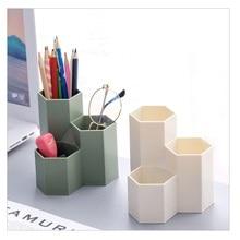 Hexagonal pen holder container Make-up Brush Storage Box Make-up Holder For Lipstick/Pen/Cosmetic pencil transparent black green