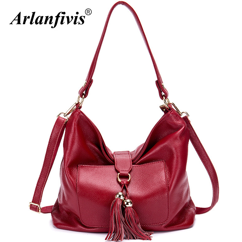 Arlanfivis 100% Genuine Leather Fashion Tassel New 2018 Large Capacity Mommy Bag Soft Leather Women Handbag Shoulder Bags Purse arlanfivis genuine leather new designer 2018 fashion woman bag cowhide large capacity female handbag wide strap crossbody bags