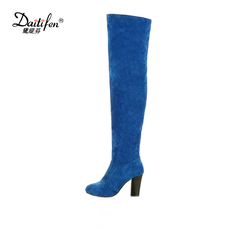 Daitifen New Winter Sexy Flock Over-the-knee High Heel Boots Woman All-match Solid Chunky PU Leather Shoes Thigh High Boots