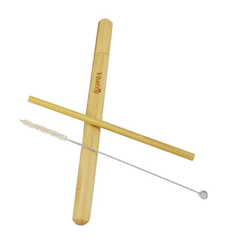 Natuurlijke Bamboe Rietje Reizen Set Sisal Hennep Rietjes Reinigingsborstel Met Organische Bamboe Stro Buis Draagtas