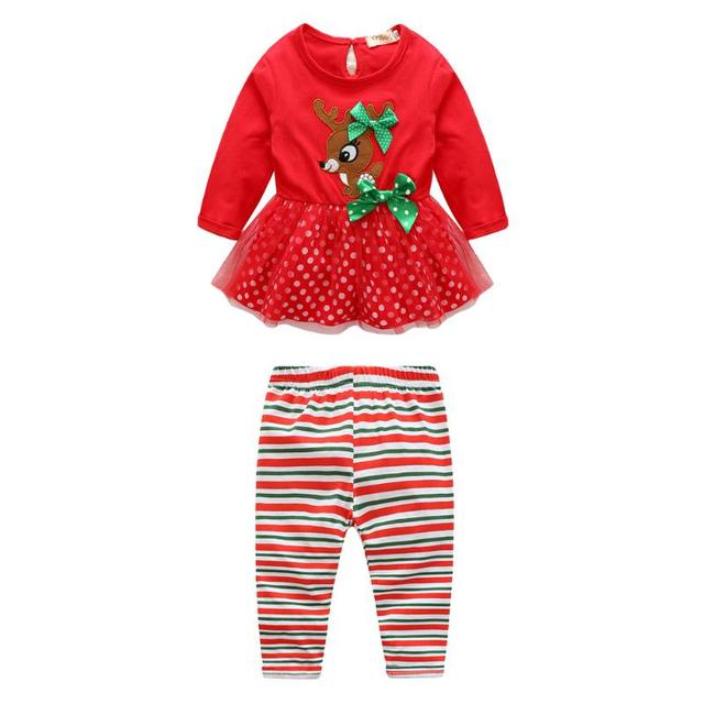 kids children christmas clothes long sleeve tops striped pants outfit set children clothing kids clothes girls - Christmas Clothes For Kids