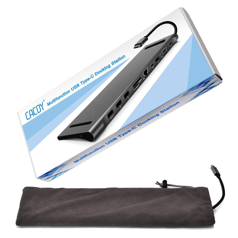 Station d'accueil type-c 3.1 moyeu Macbook Pro multifonction en aluminium vers HDMI/VGA/Mini DP/SD/TF/RJ45/USB 3.0/USB-C PD femelle-gris - 6