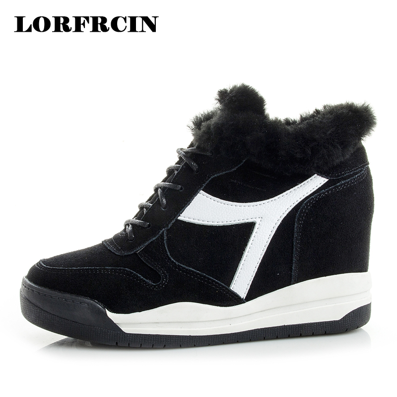 LORFRCIN Winter Boots For Women Sneakers Genuine Leather Height Increasing Platform Wedges Shoes Woman Fur Warm Ankle Snow Boots 2017 women warm boots genuine leather height increasing cut out flat platform short plush women ankle boots