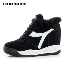 LORFRCIN Winter Boots For Women Sneakers Genuine Leather Height Increasing Platform Wedges Shoes Woman Fur Warm Ankle Snow Boots