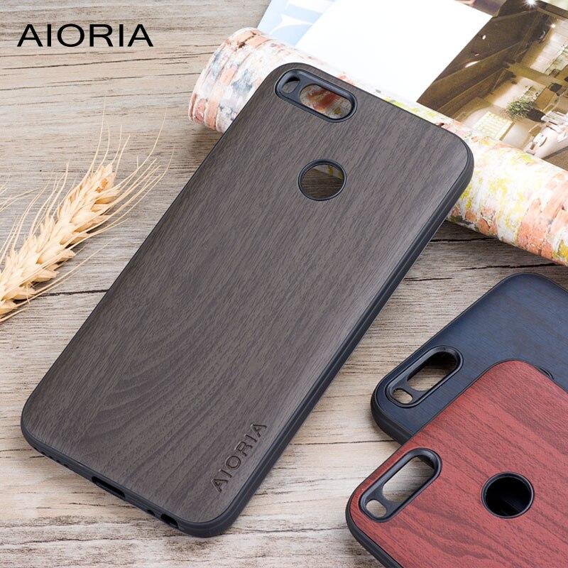 Étui en bois pour Xiao mi mi a1 mi 5x matériau en silicone souple avec PC avec peau en cuir d'unité centrale en bois couvre coque fundas