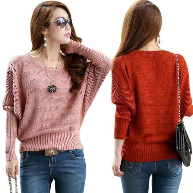 2015 Fashion women Sweaters Solid Hollow Bat Loose pullover Crew Neck Long Sleeved Autumn&Winter Female Tops Plus size QA559
