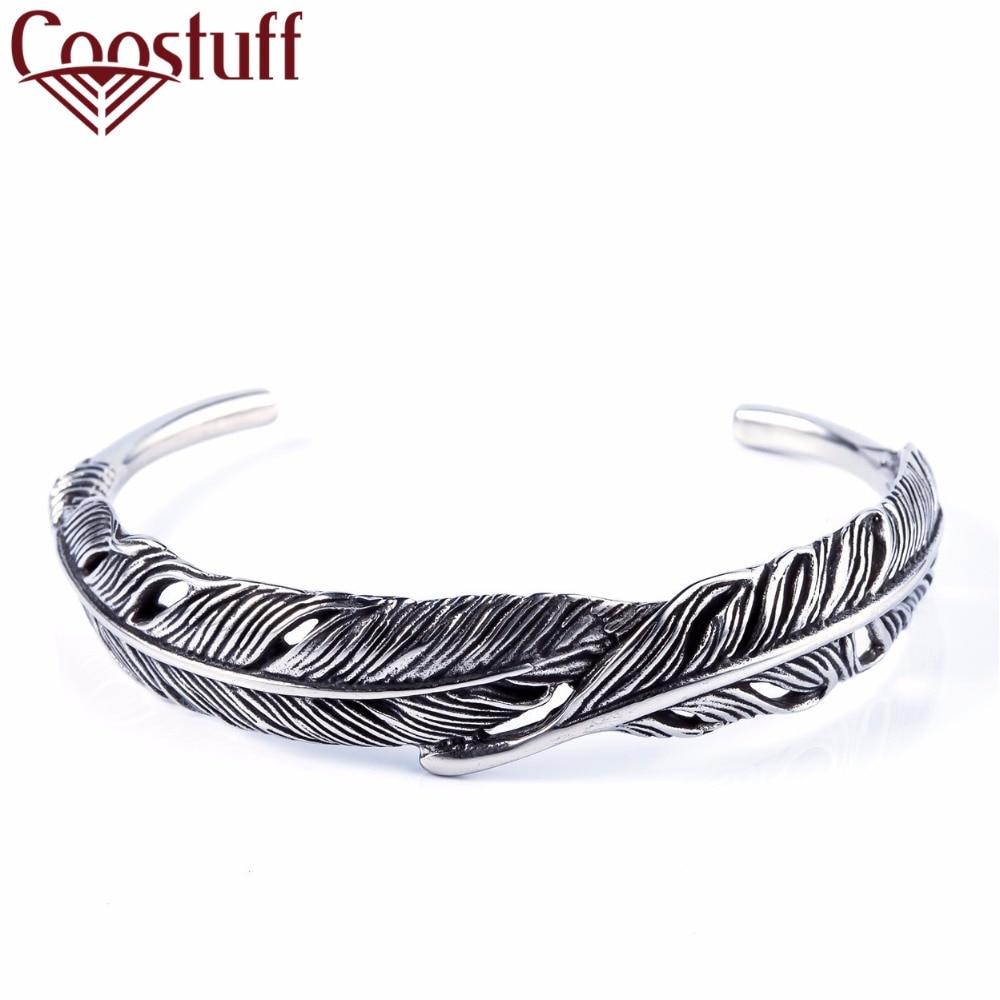 Pulseras Mujer Moda 2017 Men Bracelets Women Vintage Feathers Stainless  Steel Handmade Bracelets & Bangles Pulseira