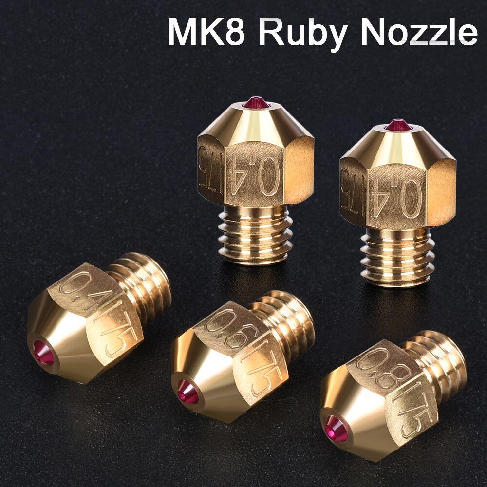 1/2 pcs MK8 rubis buse 3D imprimante pièces en laiton buse 0.4/0.6/0.8 MM 1.75 MM Filament à j-head Hotend MK8 extrudeuse pour Ender 3 Pro