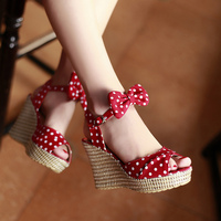 SARAIRIS 2019 Top Quality polka dot Fashion women's Shoes wedges High Heels Summer Party sweet bow Sandals Shoes Woman