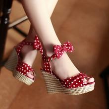 SARAIRIS 2019 Top Quality polka dot Fashion women's Shoes wedges High Heels Summ