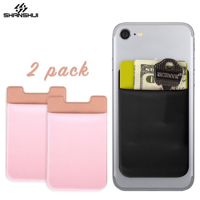 Phone Card Holder >> Mobile Phone Sticker Card Holder Stretch Wallet 2 Pack Lot Id Credit