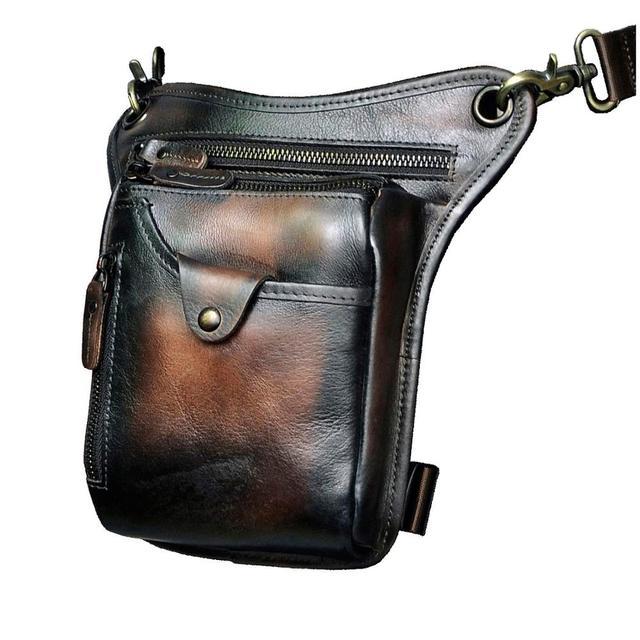$ US $19.38 New Quality Leather men Fashion Small Messenger Cross body Bag Design Travel Fanny Belt Waist Pack Drop Leg Bag Pouch 211-5-db