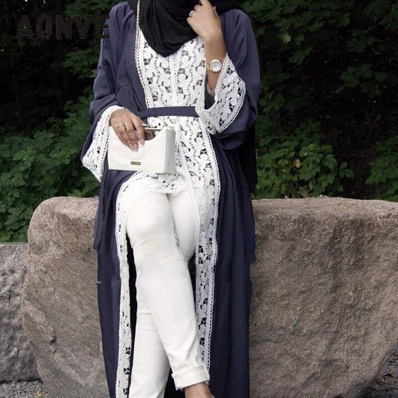 Aonve Long Lace Red Abayas Islamic Women Djellaba Dubai Lace Turkish Robes Arab Ladies Open Kaftan Muslim Moroccan Black Abaya