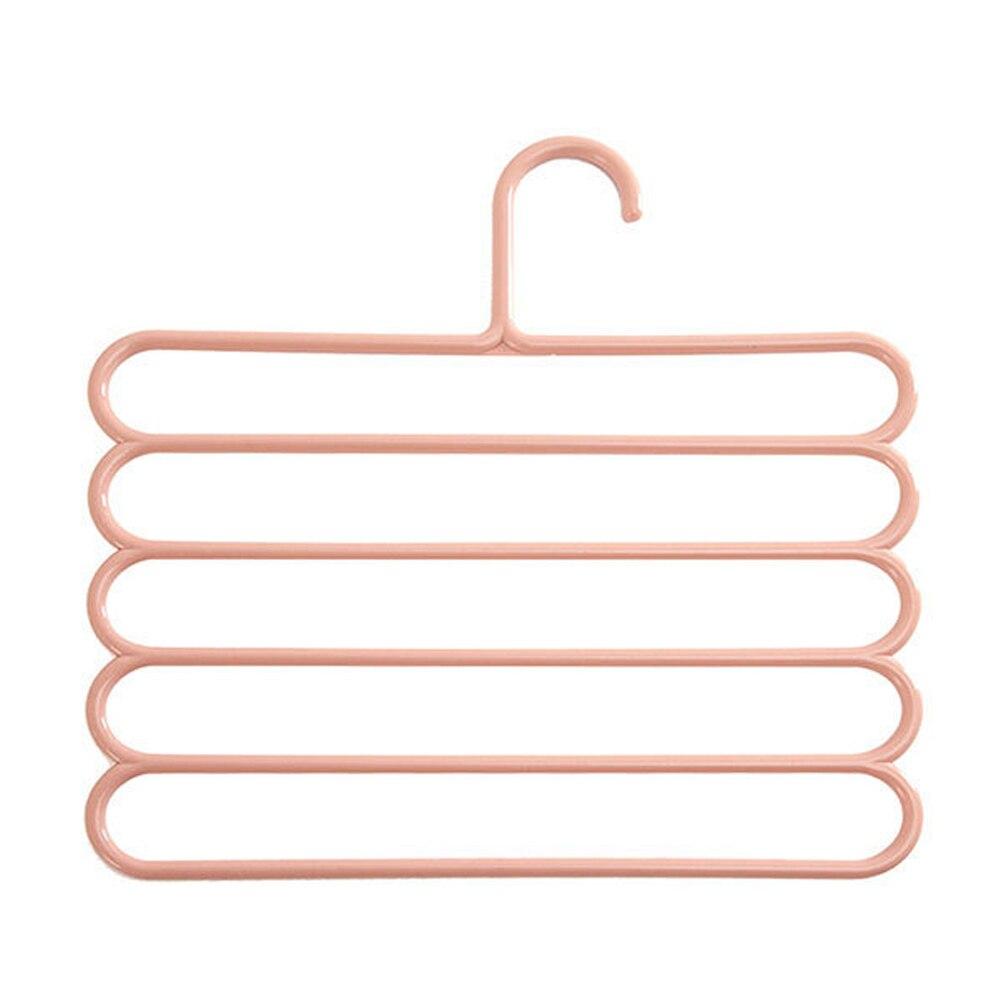 5 слоев не Нескользящая мультифункциональная подкладка под вешалки для одежды со штанами Для Хранения Вешалки ткань стойки Многослойные хранения шарф галстук вешалка 1 шт - Цвет: Light pink