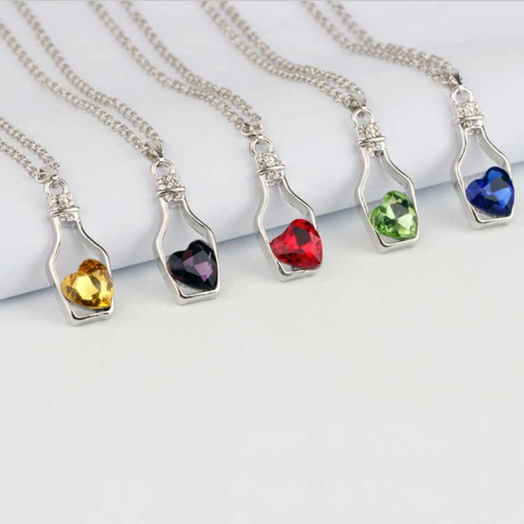 Wishing Bottle Necklace women Love Drift Bottle Clavicle Chain Alloy Crystal Stainless Steel Pendant Necklack