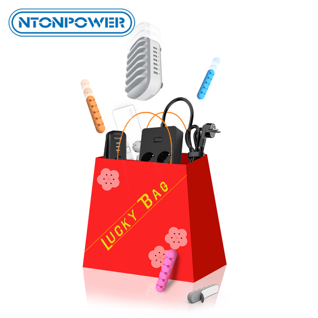 NTONPOWER Free Ship Fukubukuro Lucky Bag with Power Strip Plug Adapter Socket USB Charger organizer cable 2pcs=$9.9