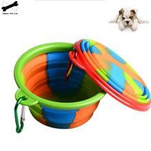 1 шт. портативная миска для путешествий, кормушка для собак, контейнер для воды, еды, силиконовый маленький Mudium аксессуаров для домашних питомцев собак Складная миска для собаки, наряд
