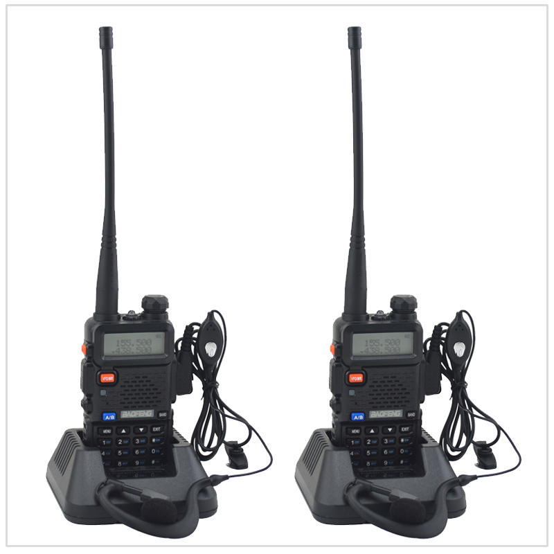 2PCS/Lot baofeng dualband UV-5R walkie talkie radio dual display 136-174/400-520mHZ two way radio with free earpiece BF-UV5R