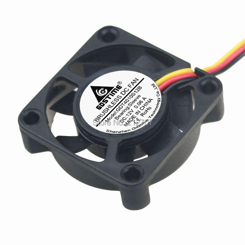 10 шт. Gdstime 12 В 3Pin 40 мм Мини 4 см DC Бесщеточный вентилятор охлаждения компьютера PC 40X40X10 мм