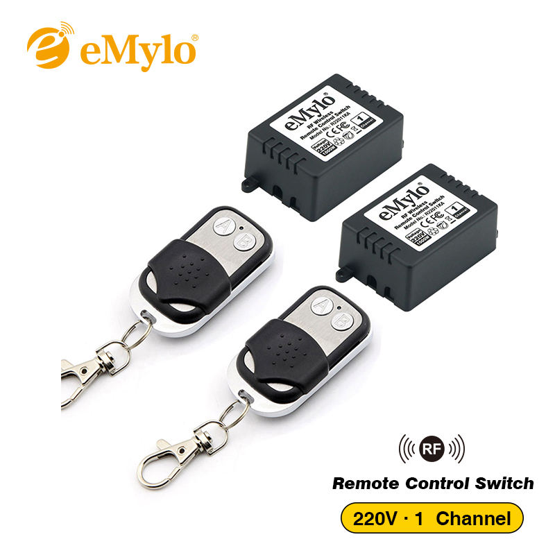 eMylo Switch AC220V 1000W 2X Black-Sliver Transmitter 2 X 1 Channel Relay RF Smart Wireless Remote Control Light Switch 433Mhz abcnovel multifunction wireless 2 4ghz flip over switch task window laser pen black 1 x aaa