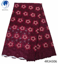 Beautifical african fuchsia swiss lace voile fabrics cotton material for dresses beautiful flower designs new product 4R343