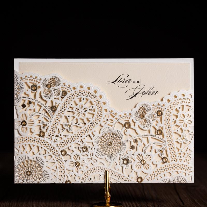 Elegant White Shiny Gold Patterns Wedding Invitations Cards By Wishmade Cw5181 Minimum Order