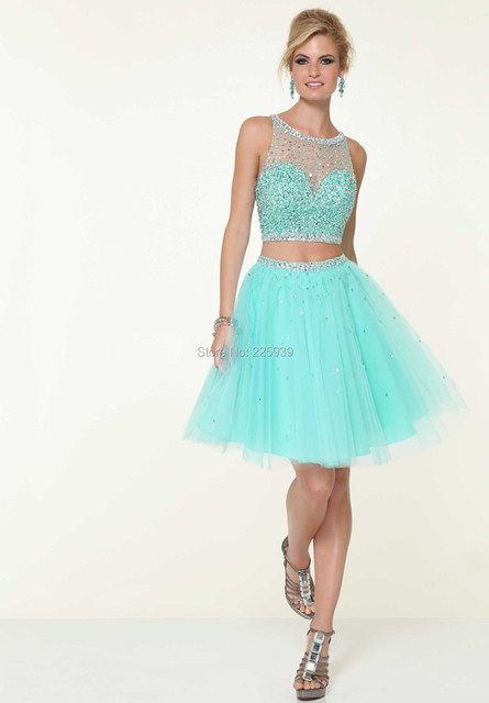 New Arrival Tulle Two Piece Short Homecoming Dresses Fully Diamonds Sequins Crop Top Shiny 2 Piece Fashion For Prom Party Gowns