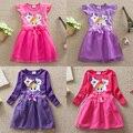 2-7 crianças de algodão meninas vestido dos desenhos animados pony vetement fille renda vestidos para crianças pequenas meninas do bebê roupas de verão manga pétala