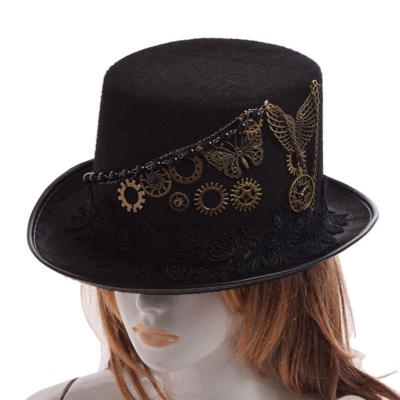 Takerlama Retro Vintage Unisex Steampunk Rose Gears Black Top Hat Gothic Victorian Hats Halloween Lolita Cosplay Hats
