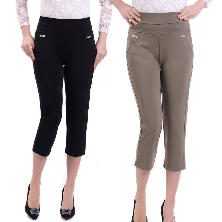 2018 Summer Women Casual Pants Capris Female High Waist Straight Pants Plus Size Pants Women Casual 7 Capris Pants  XL-XXXXXL