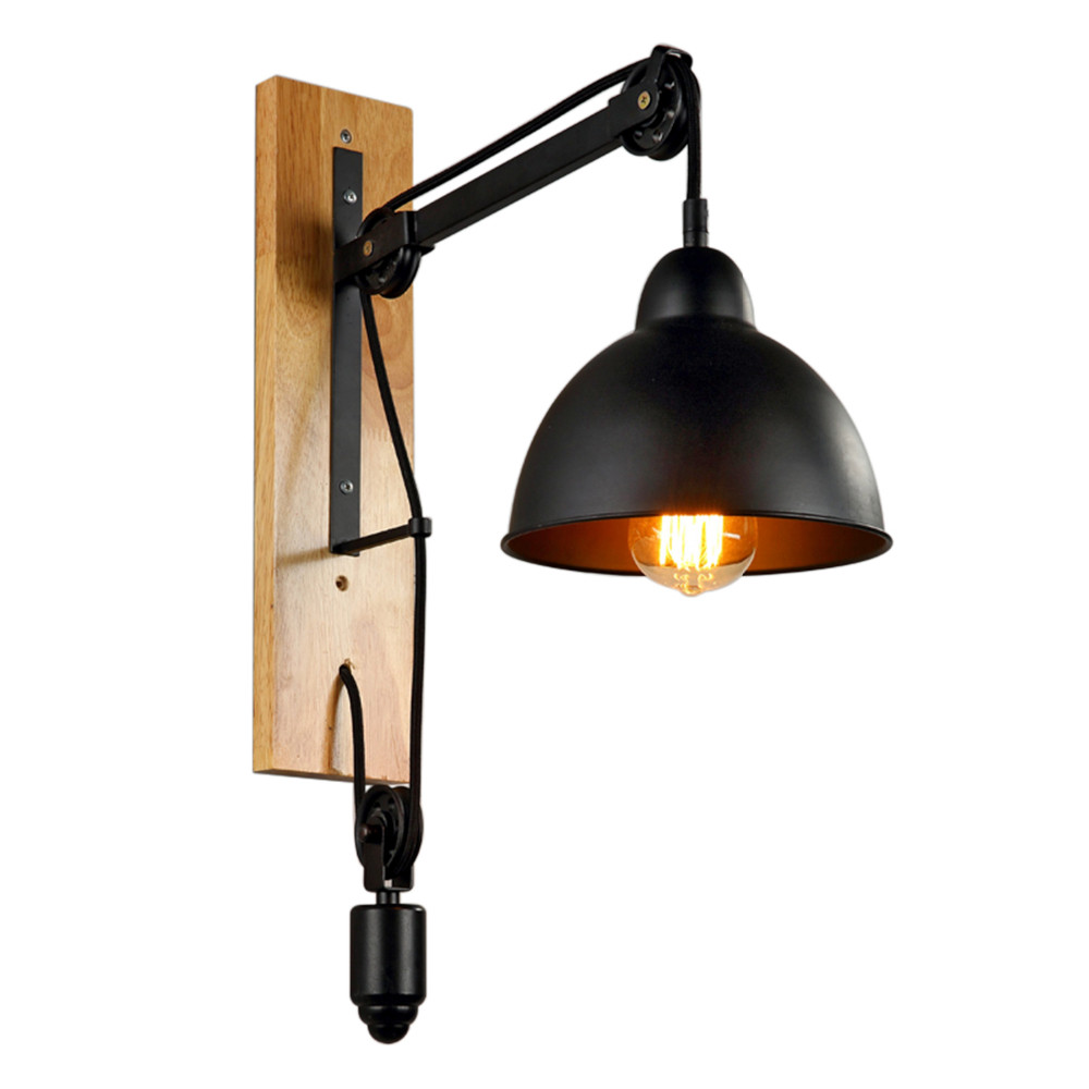 Iron and Wood American vintage wall lamp indoor lighting bedside lamps wall lights for home diameter  240V E27 vintage wall lamp indoor lighting bedside lamps wall lights for home