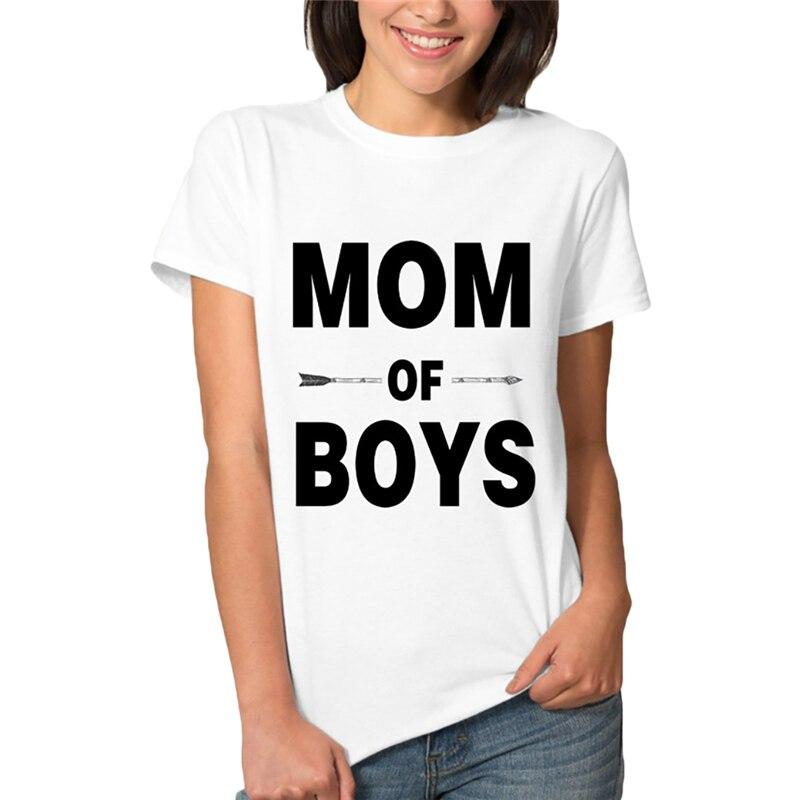 Мода 2017 г. Лето мама для мальчиков с буквенным принтом Футболка женская Шорты рукавом женские футболки Топы женские серые футболки футболка