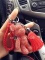 rhinestone teddy bear car keychains bling purse bug charms keyring real leather Lanyard key chain tassel keys holder sparkly