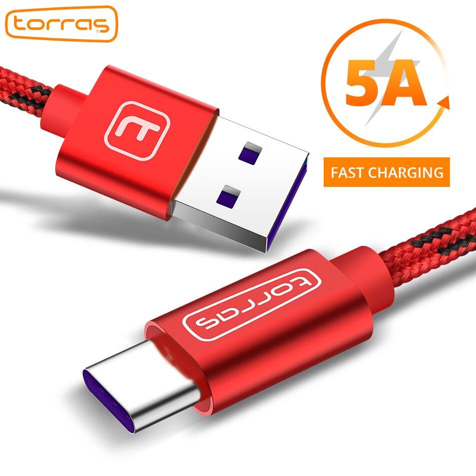 TORRAS USB Type C Câble Pour Huawei P20 5A Rapide Type-C Câble de Chargement de Données pour Huawei P9 P10 compagnon 10 Type c Câble Pour Samsung S8