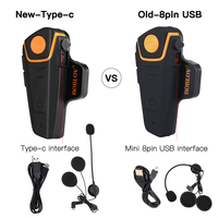 BOBLOV 1 Pcs New Type c BT S2 Motorcycle Headset Waterproof Interphone 1KM Moto Bluetooth Helmet Intercom Moto Headset FM MP3