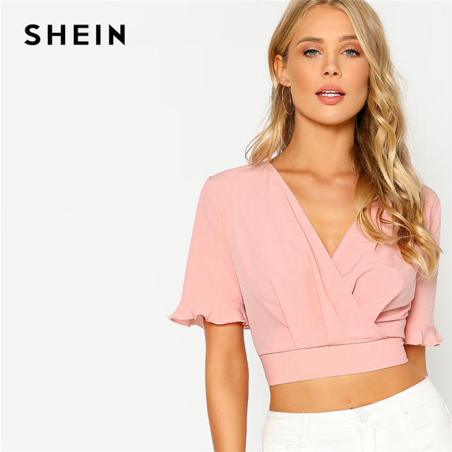 34a50144b7f1 SHEIN Pink Elastic Hem Surplice Wrap Crop Top Women Deep V Neck Short Sleeve  Party Blouse Spring Ruffle Sexy Short Sleeve Blouse