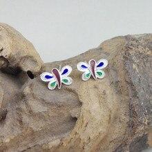 Butterfly 999 Sterling Silver Stud Earrings For Women Small Earing Cloisonne Enamel Luxury Jewelry Trendy Fahion Handmade Ethnic