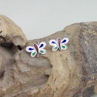 Butterfly Stud Earrings Cloisonne Enamel Earing Handmade Ethnic Jewelry 999 Sterling Silver Women's Earings China Air Express
