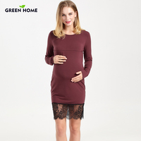 Green Home Maternity Evening Dress Pregnant Women Modal Pregnancy Dress Winter Elegant Nursing Dresses Breastfeeding Clothing