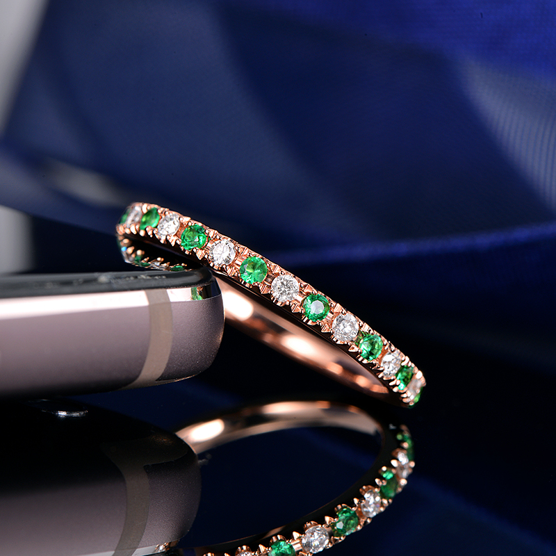 0.12ct G-H SI1 Natural Diamond And 0.12ct Emerald 14K Rose Gold Engagement  Wedding Band 096dedad8ed
