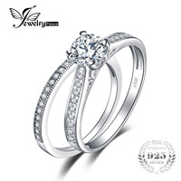 Classic Fine Zircon Jewellery Engagement Ring Set 100 Real 925 Sterling Silver Wedding Bands Ring Bridal