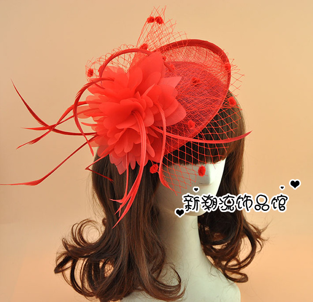 d6211bed2a5f9 New Black Red Blue Vintage Sinamay Wedding Fascinators And Hats Hair Clip  Fancy Show Party Women Feather Flower Mesh Headdress-in Hair Accessories  from ...