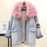 Winter New Women Warm Coat Real Fox Fur Collar+Natural Rabbit Hair Liner Denim Jacket Drawstring Slim Jean Cotton Outwear L1786
