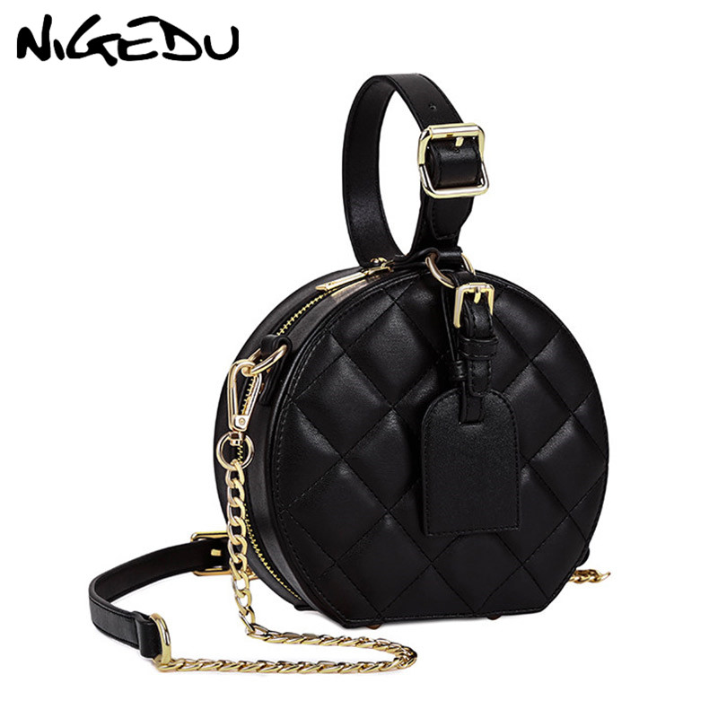NIGEDU Circular women's shoulder bag luxury Diamond design handbags women Messenger bags Chain Crossbody Bags small Totes bolsas