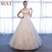 Женское свадебное платье с коротким рукавом, кружевное винтажное платье трапециевидной формы с аппликацией, свадебное платье для невесты