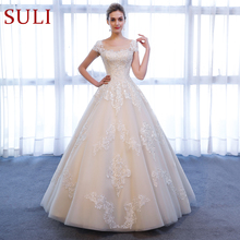 SL 307 Charming A Line Short Sleeve bridal dresses Lace Appliques Beach Vintage SuLi Wedding Dress woman wedding gowns for bride