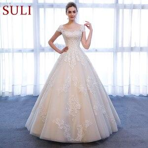 Image 1 - SL 307 Charming A linie Kurzarm brautkleider Spitze Appliques Strand Vintage SuLi Hochzeit Kleid frau hochzeit kleider für braut