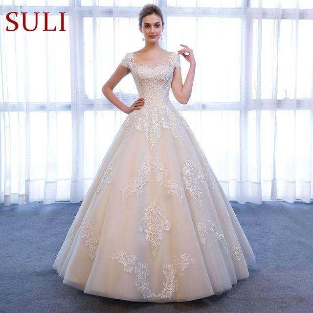 SL 307 Charming A linie Kurzarm brautkleider Spitze Appliques Strand Vintage SuLi Hochzeit Kleid frau hochzeit kleider für braut